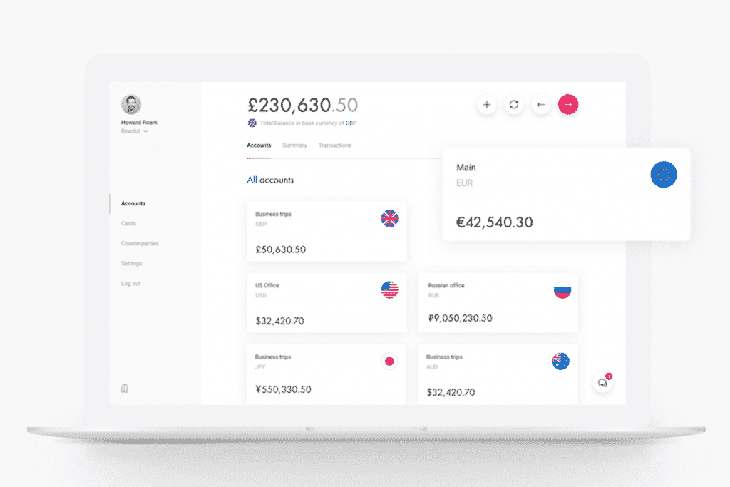 Revolut Business on laptop.