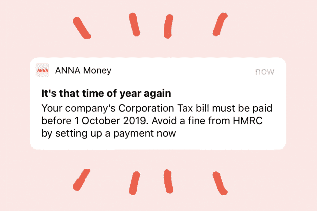 ANNA Money alerts include one for your Corporation Tax bill
